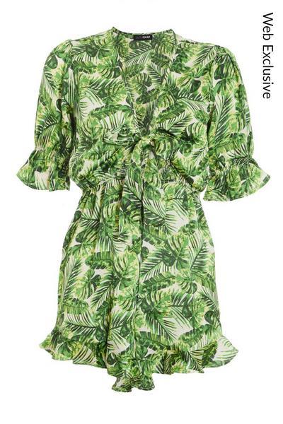 Green & White Leaf Print Playsuit
